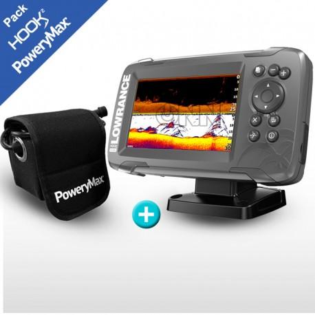 Pack Lowrance GPS Plotter Hook2-5 SplitShot + Batería  PoweryMax PX5