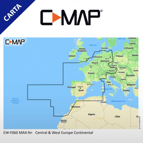 Cartografía C-MAP MAX-N+ Continental EW-Y060 Central & West Europe