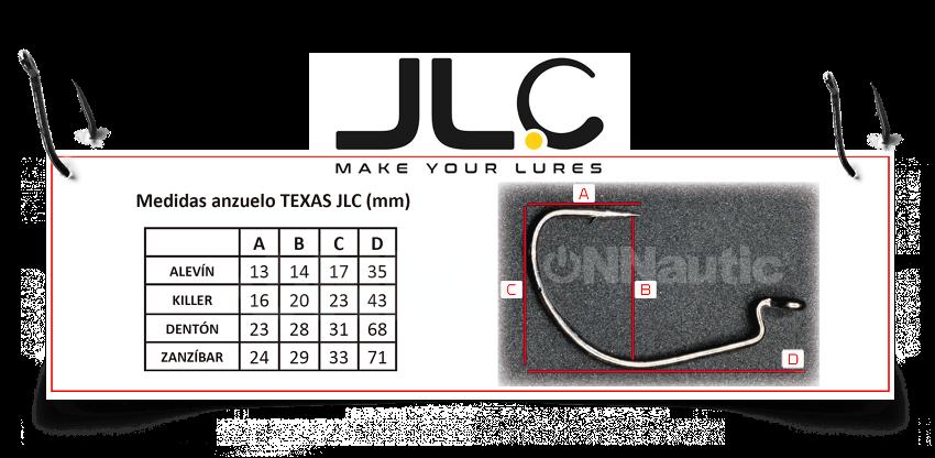 Medidas de anzuelo TEXAS JLC en milímetros.