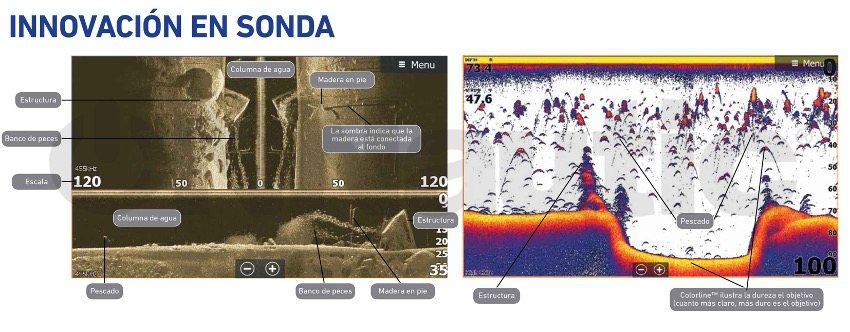 Capturas de sondas realizadas con productos Lowrance.