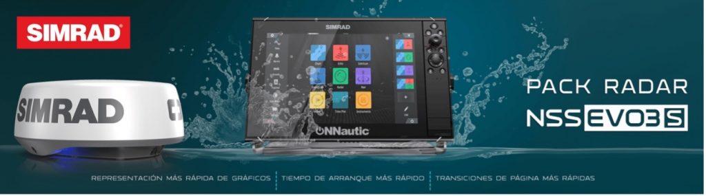 Marcas con las que trabaja onnautic: Simrad. Imagen Pack de productos Simrad.