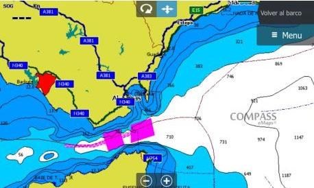 Imagen de pantalla de sonda con la cartografía compass e+ spain mediterranean