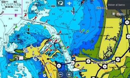 Imagen de pantalla de sonda de la cartografía compass e+ spain mediterranean