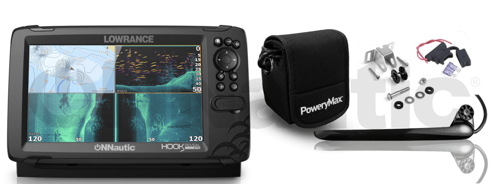 Sonda GPS Plotter Lowrance HOOK Reveal 9 Tripleshot PoweryMax Ready