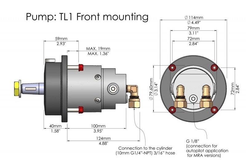 Imagen de las características de la Dirección Hidráulica Hydrodrive MF90W Motores Hasta 90HP