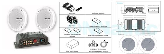 contenido y dimensiones del sistema de audio marino sonichub2 para lowrance y simrad
