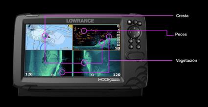División de pantalla en el Lowrance Hook Reveal