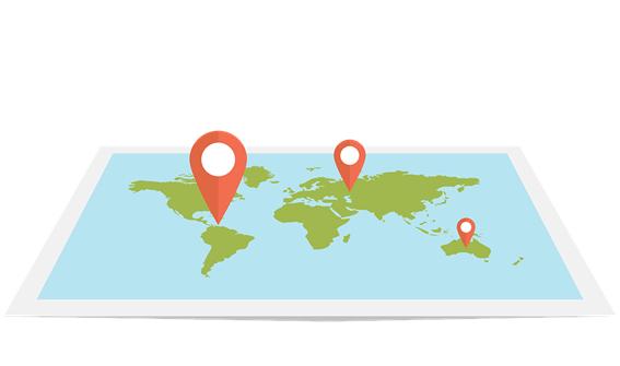 Imagen de puntos de localización situados en un mapa