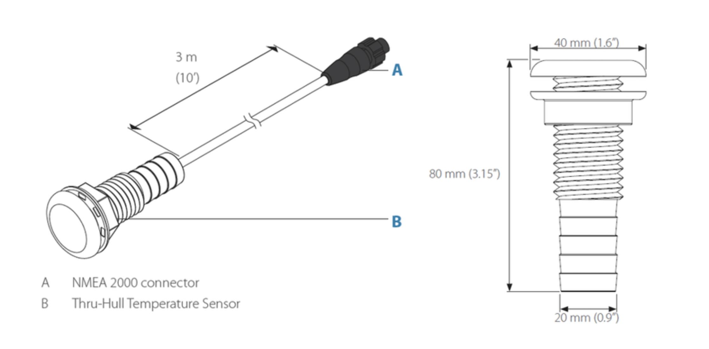 Sensor temperatura pasacascos lowrance simrad