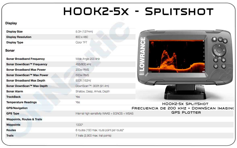 Lowrance Hook2-5x Caracteristicas