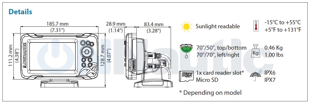 Dimensiones Lowrance-Hook2-5x SplitShot