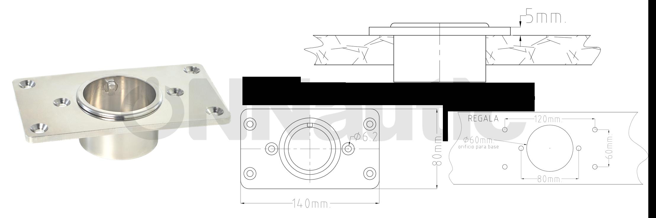 base cañero rectangular rocket
